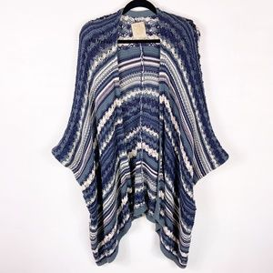 Chaser | blue oversized open front cardigan